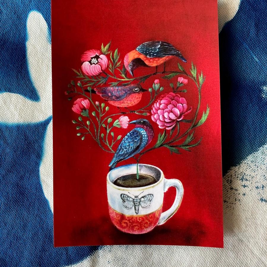 Postcard BIRD TEA
