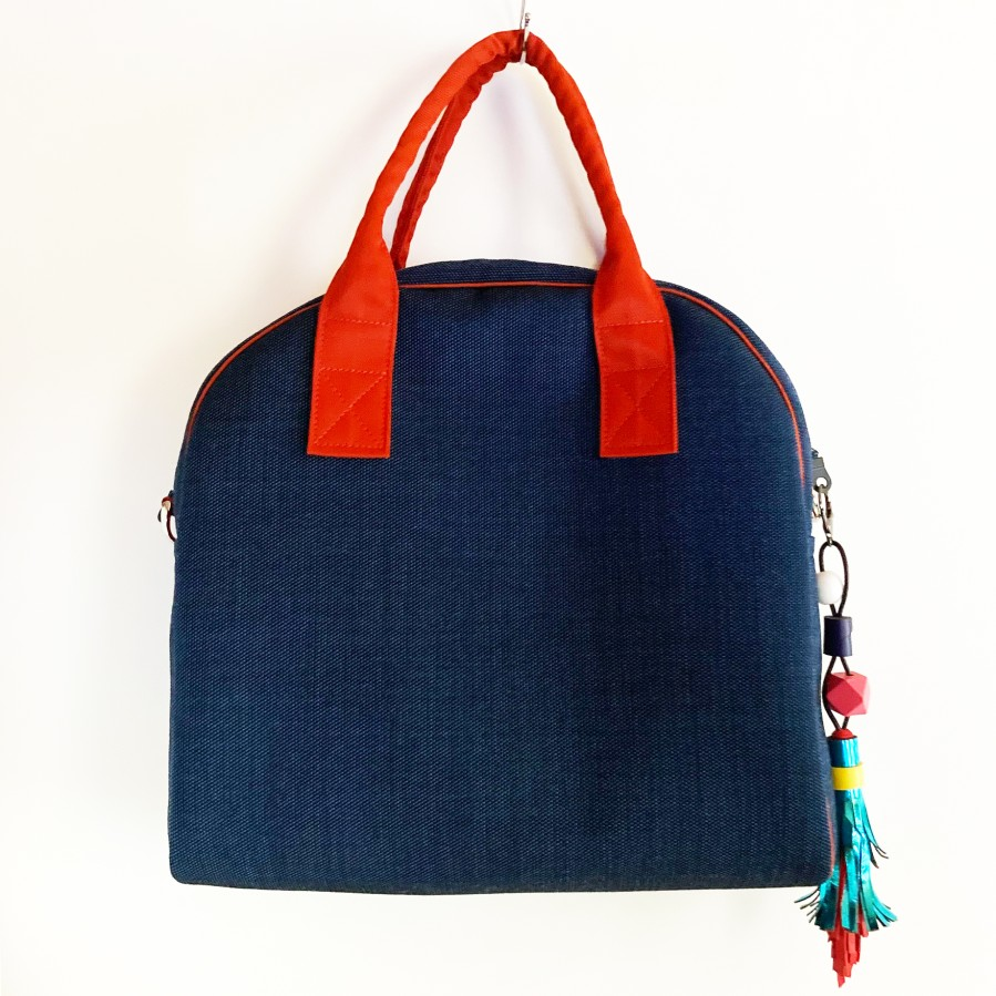 Little MADMUAZELE. Blue hand-painted bag with a long handle.