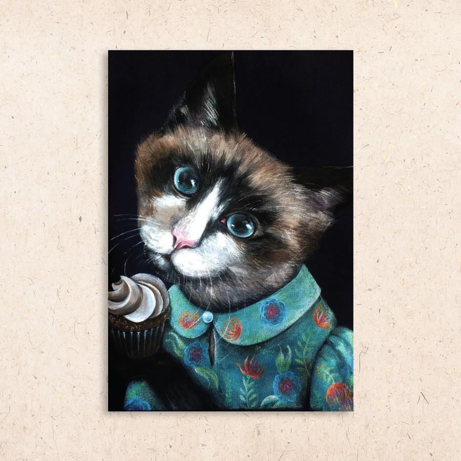Postcard: Cat with cupcake