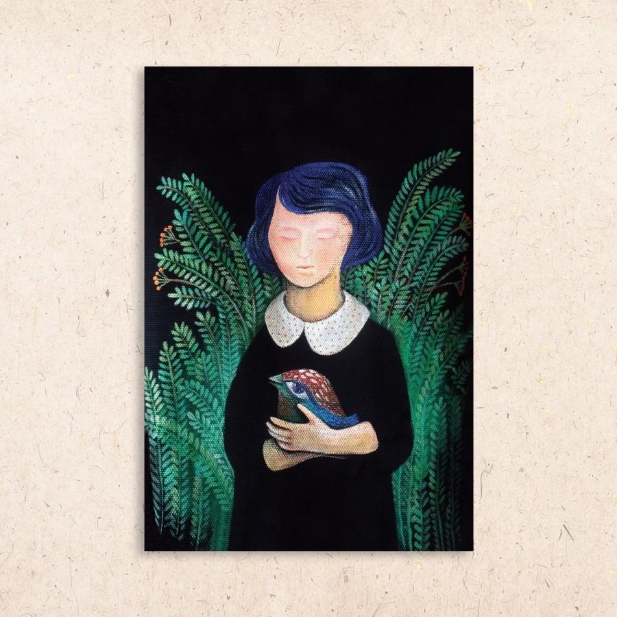 Postcard: Girl in the herbaria