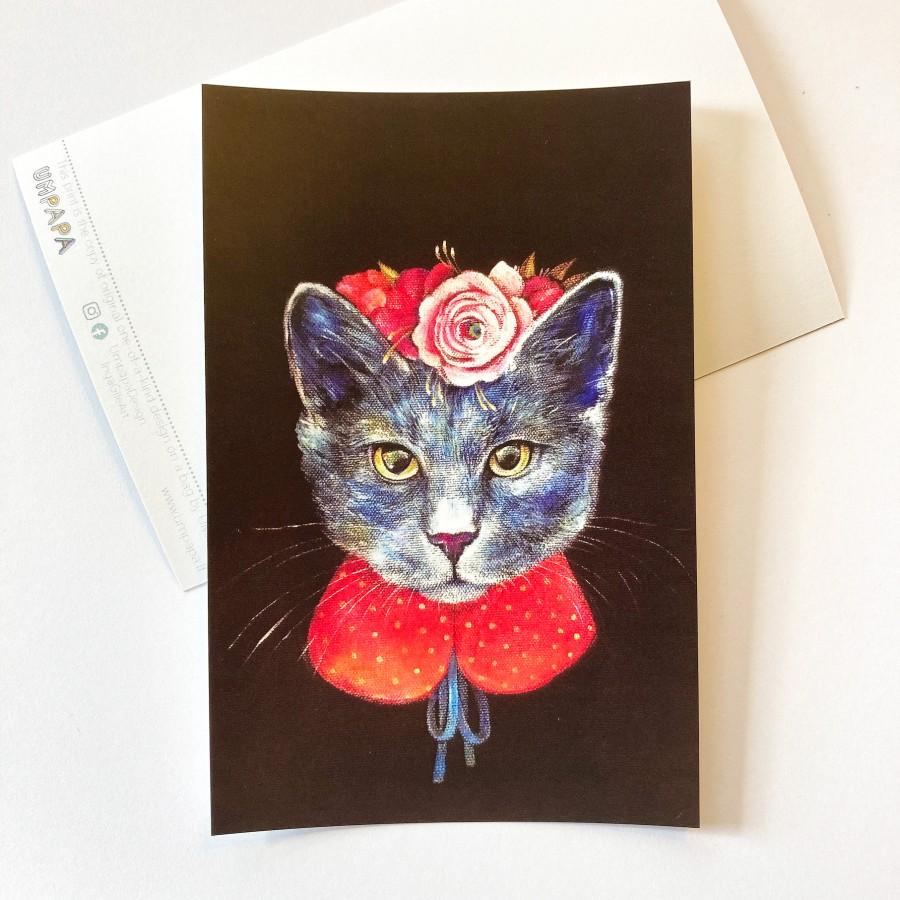 Postcard FLORAL CAT